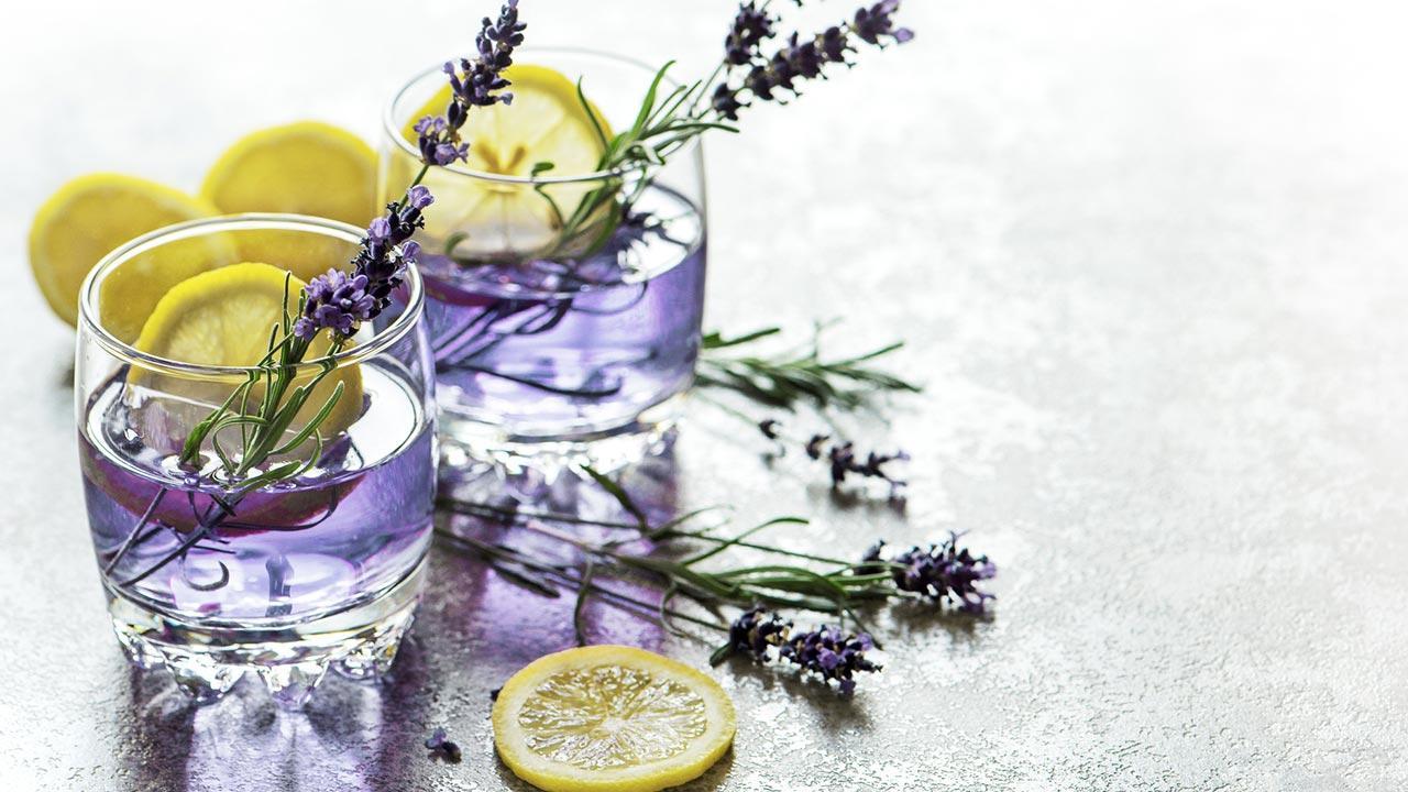 Lavendellimonade Selbstgemacht - schön verzierte Gläser mit Lavendellimonade