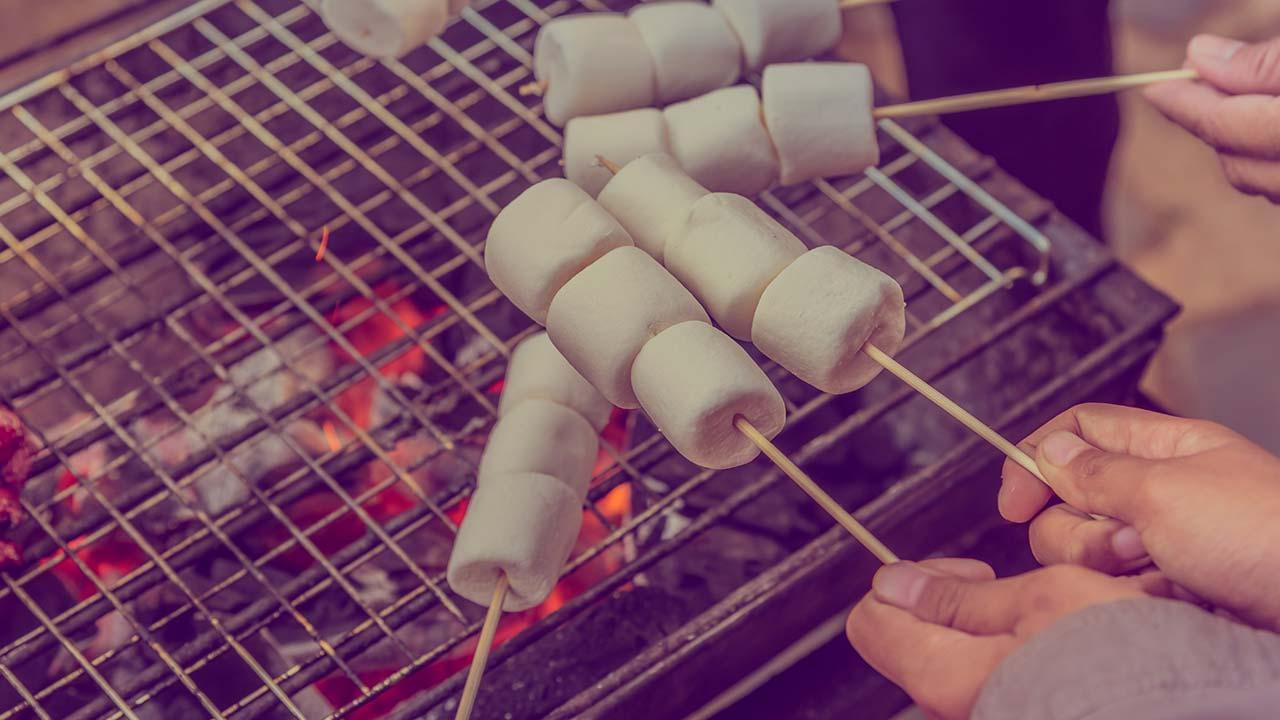 Marshmallow grillen - der Hit für Kids im Winter - am Griller