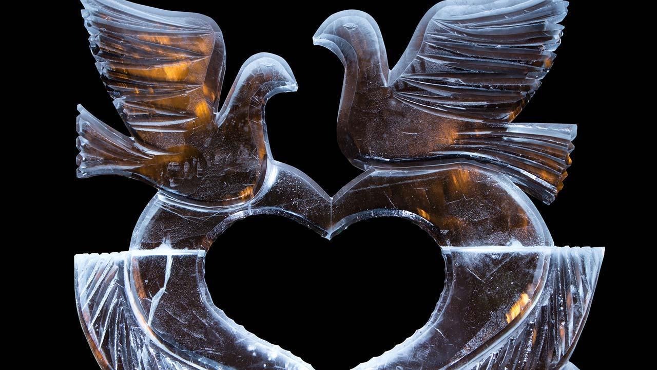 Eisskulpturen selbst gemacht - 2 Tauben in Eis