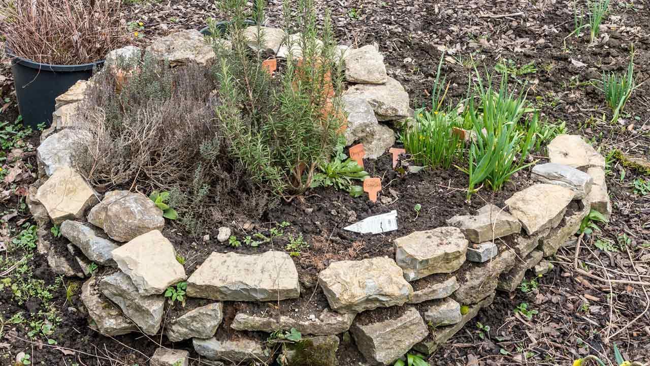 Eine Kräuterspirale im eigenen Garten - im Herbst