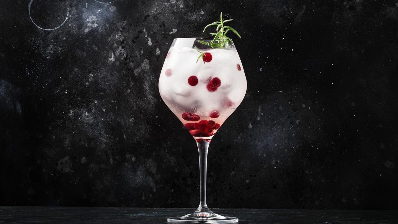 Gin Tonic mit Beeren - mit Preiselbeeren