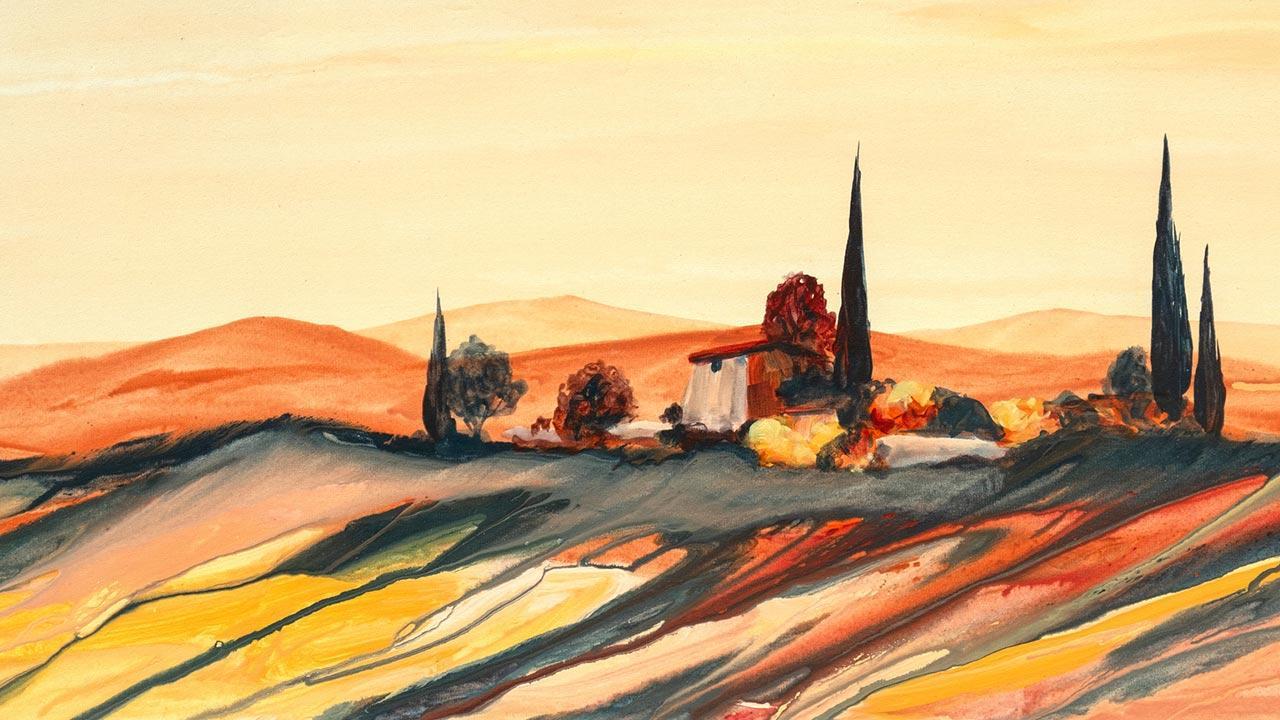 Einstieg in die Hobby-Malerei: Acrylfarben / Toskana Landschaft mit Haus