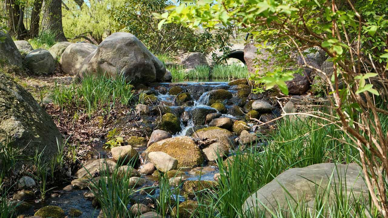 Fließende Gewässer im eigenen Garten / Bachlauf über Felsen