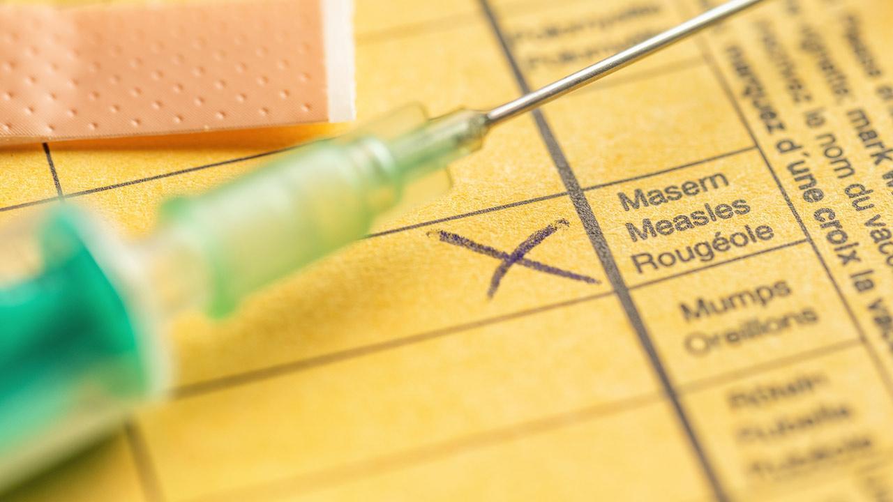 Impfpflicht pro und contra / Impfausweis mit Spritze