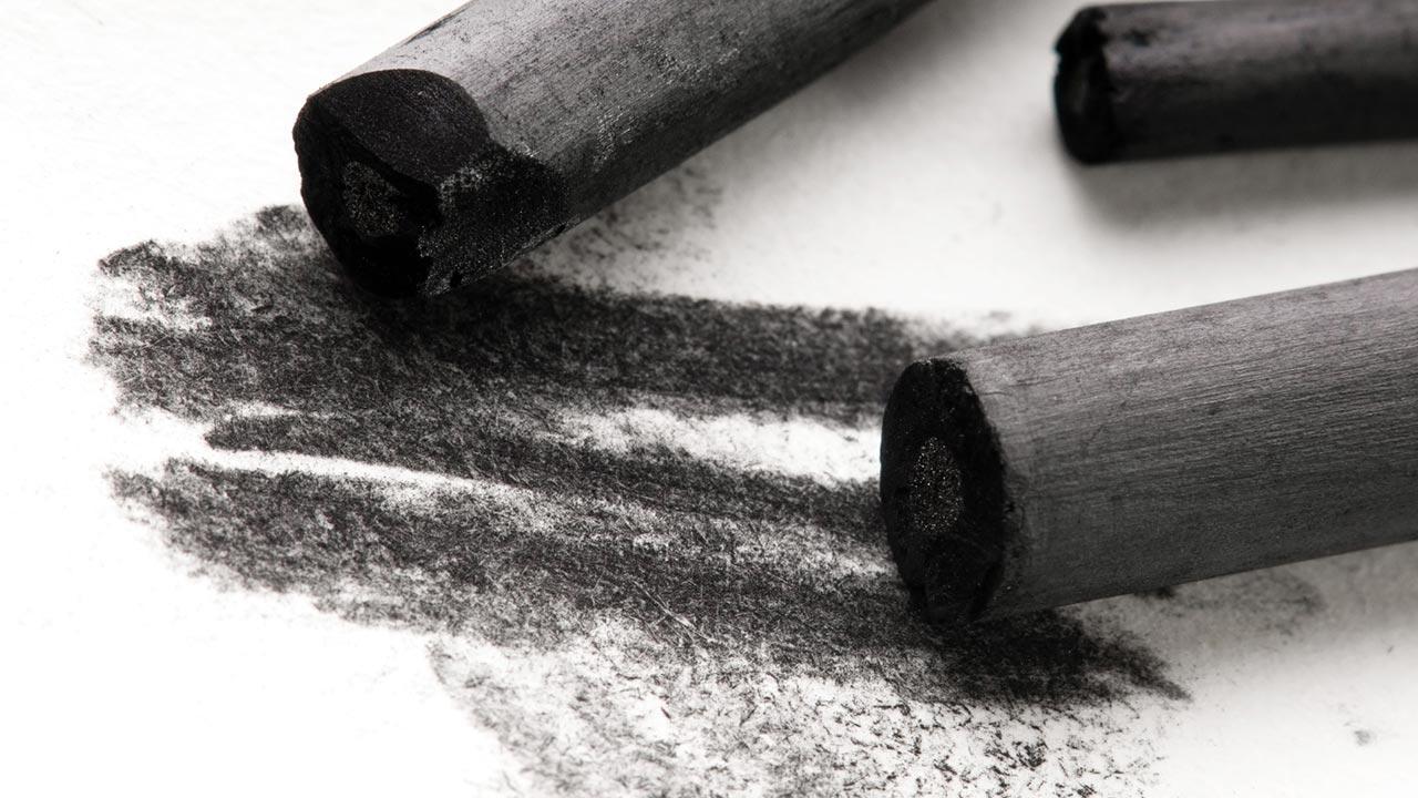 Kohlestift - Einstieg in die Hobby-Malerei / drei Kohlenbleistifte